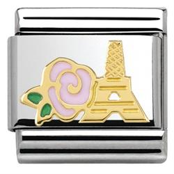 Gold Pink Rose Paris Charm