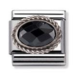 Black Faceted CZ With Silver Frill