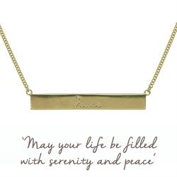Peace Bar Mantra Necklace in Gold