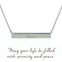 Peace Bar Mantra Necklace in Sterling Silver