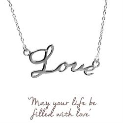 Mantra Love Script Necklace in Silver