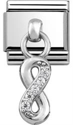 Buy Nomination Silver Hanging Infinity Charm with CZ Embellishment