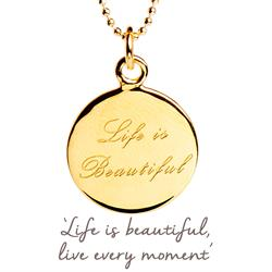 Life is Beautiful Mantra Necklace in Gold
