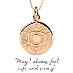 Evil Eye Disc Necklace in Rose Gold