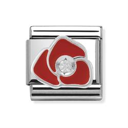 Red Enamel CZ Flower