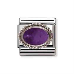 Amethyst and Silver Frill Oval Stone