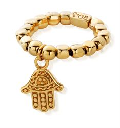 Decorated Gold Hamsa Ring Standard
