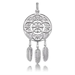 Silver Dreamcatcher Three Feather Pendant