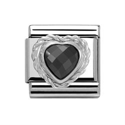 Buy Nomination Silver Black CZ Heart