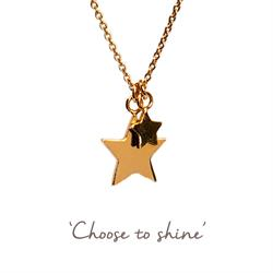 Double Star Mantra Necklace in Gold