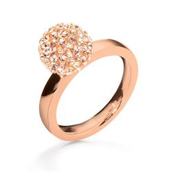 Folli Follie Rose Gold Champagne Crystal Ball Ring 54