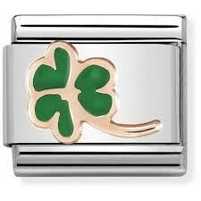 Rose Gold Green Clover Charm by Nomination