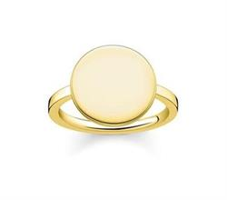 Engravable Gold Disc Signet Ring 54