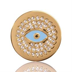 Yellow Gold Evil Eye Coin 23mm
