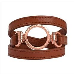Brown Leather Wrap Bracelet in Rose Gold