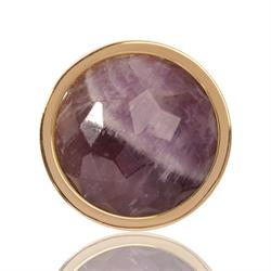 Yellow Gold Amethyst Coin 23mm