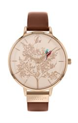 Buy Sara Miller Chelsea Love Birds Watch, Rose Gold and Tan