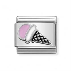 Silver and Pink Ice Cream Charm