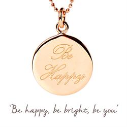 Be Happy Mantra Necklace in Rose Gold