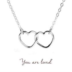 Linked Hearts Mantra Necklace in Silver
