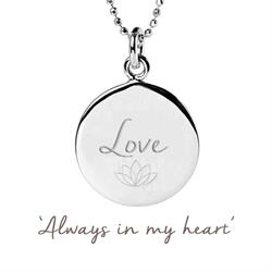 Love Disc Necklace in Sterling Silver