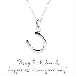Mantra Horseshoe Necklace in Silver