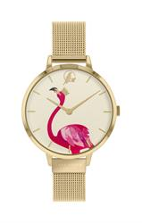 Flamingo Mesh Watch, Gold