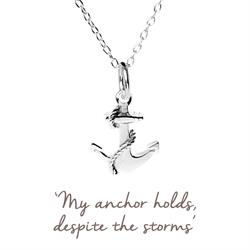 Silver Anchor Protection Mantra Necklace