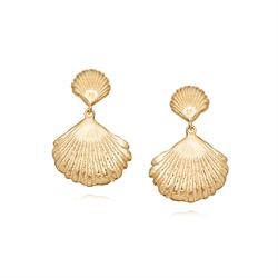 Gold Double Shell Earrings by Daisy