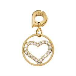 Sparkling Heart Gold Charm Pendant