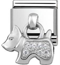 Silver Hanging Dog Charm with CZ Embellishment