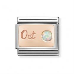 Rose Gold October Opal Charm