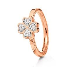 Folli Follie Four Leaf Clover Rose Gold Ring Size 54
