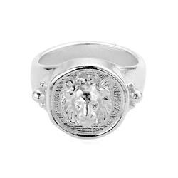Ariella Silver Lion Signet Ring S