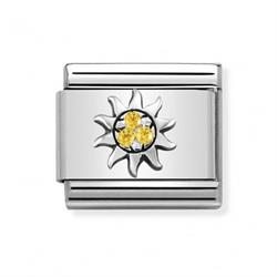 Nomination Silver Yellow CZ Sun Charm