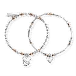 Two tone Double Devotion Set of 2 Bracelets