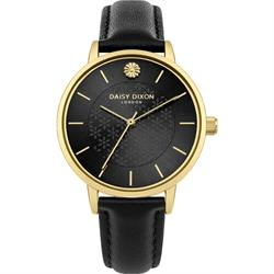 Lucy Yellow Gold Black Leather Watch