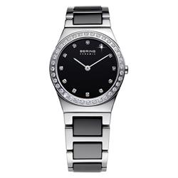 Bering Ladies Silver Ceramic Watch with Crystals