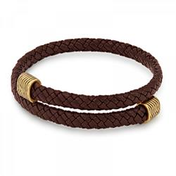 Espresso Leather Wrap Bracelet - Rafaelian Gold