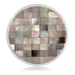 Silver Grey Shell Mosaic Coin 33mm