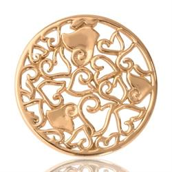Yellow Gold Baroque Hearts Coin 33mm