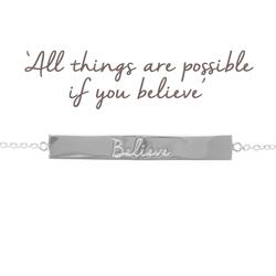 Believe Bar Bracelet in Silver