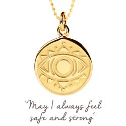 Evil Eye Disc Necklace in Gold