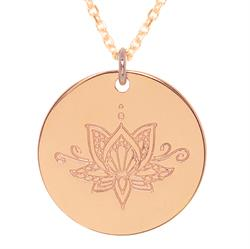 Rose Gold Ornate Lotus Personalised Necklace 80cm