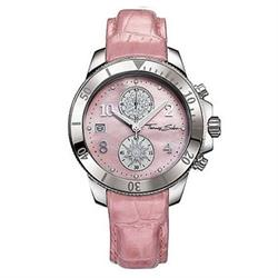 Pink Leather Mother of Pearl Rotating Sun Watch
