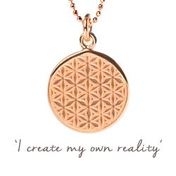 Mel Wells Flower of Life Disc Necklace in Rose Gold