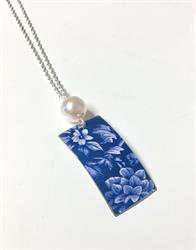 Blue Floral Rectangle Pendant with Pearl