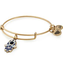Alex and Ani Blue Color Infusion Hamsa Bangle in Rafaelian Gold