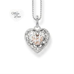 Open your Heart Arabesque Sterling Silver Locket with Rose Gold Heart