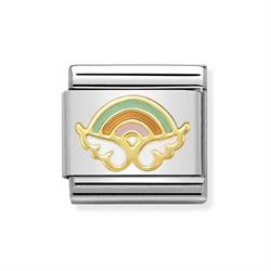 Gold Rainbow Angel Charm